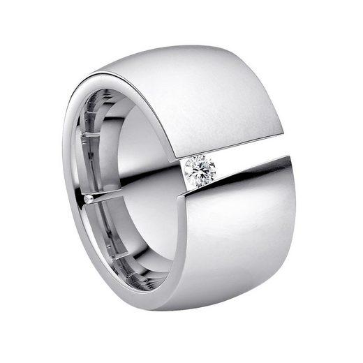 Heideman Fingerring »Aditus Poliert« (1-tlg), Damenring mit Stein weiss oder farbig