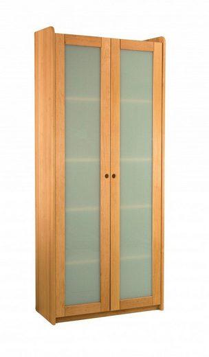 BioKinder - Das gesunde Kinderzimmer Standregal »Lara«, Bücherregal 200 cm mit Satinglastüren