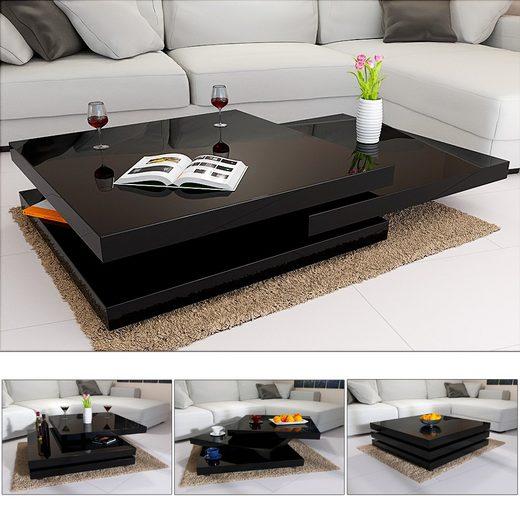 Casaria Couchtisch »New York« (1-St), Wohnzimmertisch modern • Hochglanz • 360° drehbare Tischplatten • individuell anpassbar • hohe Tragkraft • Standfüße in chrom • einfach zu reinigen