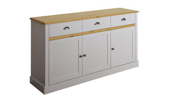 ebuy24 Sideboard »Sandy Sideboard mit 3 Türen und 3 Schubladen grau«