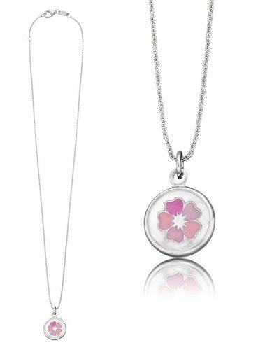 Herzengel Kette mit Anhänger »Blume als Symbol für Schönheit, HEN-GLAS-04BEAUTY«, mit Glaslinse und Emaille