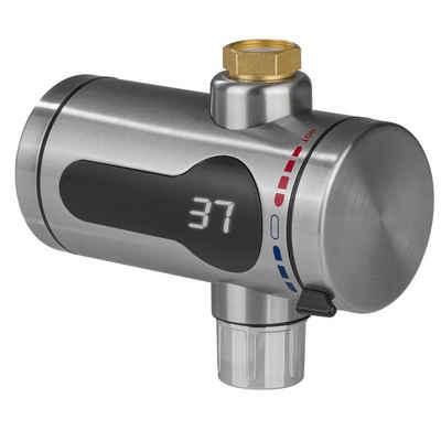 MAXXMEE Durchlauferhitzer, bis 60 Grad, inkl. Temperaturanzeige silber