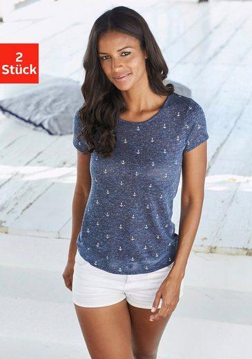 Beachtime T-Shirt (2er-Pack) mit maritimem Anker-Druck