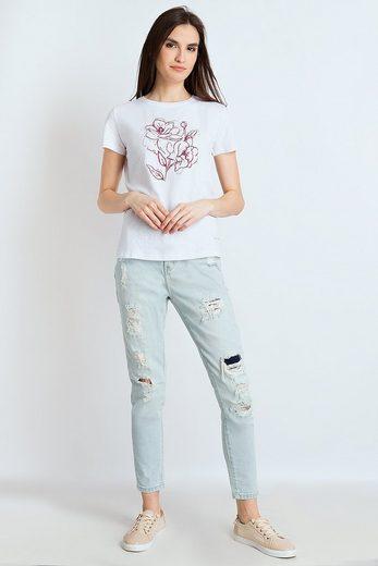 Finn Flare T-Shirt mit Blumenprint auf der Brust