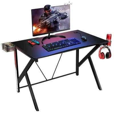 COSTWAY Computertisch »Gaming Tisch PC Tisch Schreibtisch«, K-förmig mit Getränkehalter, Kopfhörer Haken und Videoablage