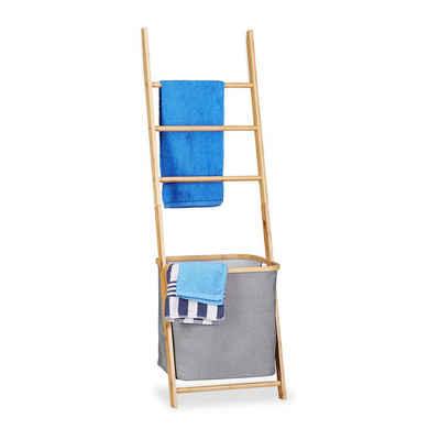 relaxdays Handtuchleiter »Handtuchhalter Bambus mit Wäschesack«