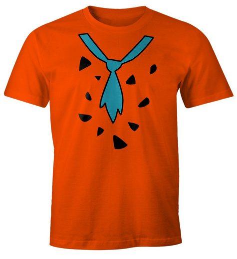 MoonWorks Print-Shirt »Herren T-Shirt Fasching Fred Feuerstein Faschings-Shirt Karneval Moonworks®« mit Print