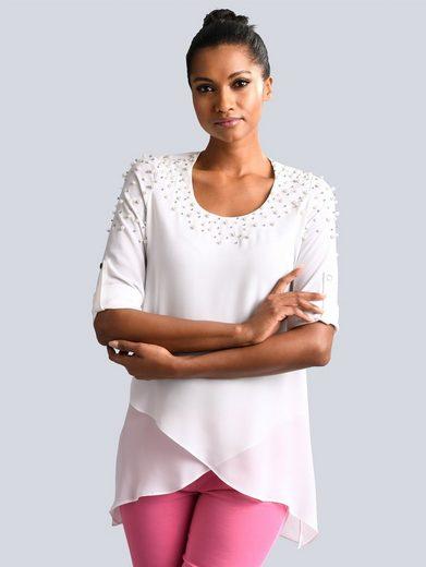 Alba Moda Bluse mit Perlen-Applikation am Ausschnitt