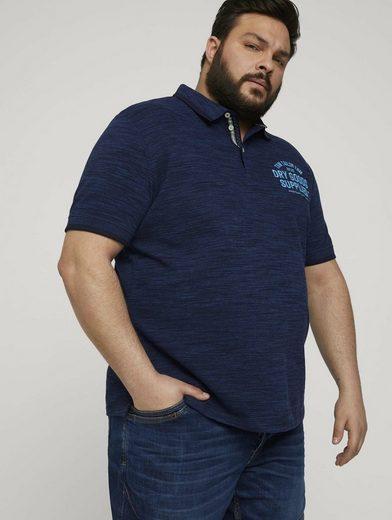 TOM TAILOR Men Plus Poloshirt »Meliertes Poloshirt mit Print«