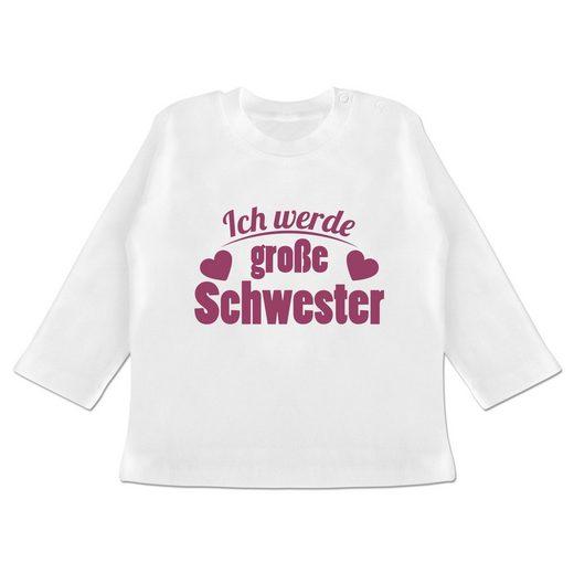 Shirtracer T-Shirt »Ich werde große Schwester - Baby T-Shirt langarm - T-Shirts« Geschwisterliebe Baby