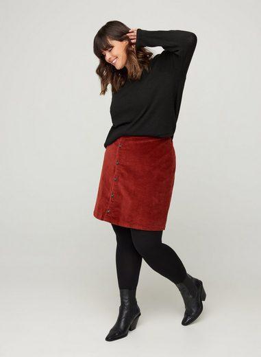 Zizzi Minirock Große Größen Damen Einfarbiger Samtrock mit Reißverschluss und Knöpfen