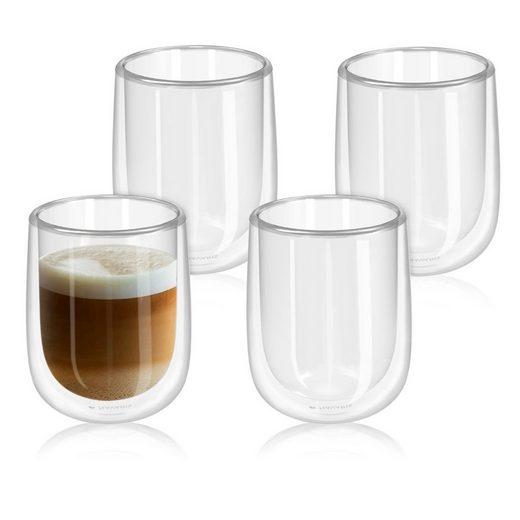Navaris Gläser-Set, Glas, 4x doppelwandige Gläser 450ml - Thermogläser für Cappuccino Latte Macchiato Tee Wasser Cola Cocktails - 4er Set Kaffeegläser Borosilikat