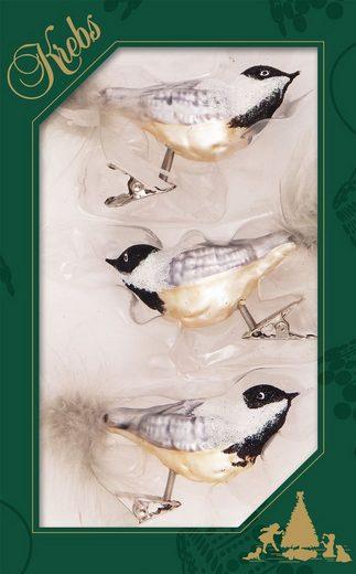 Krebs Glas Lauscha Weihnachtsbaumklammer »CBK60494« (3-tlg), Vogelsortiment