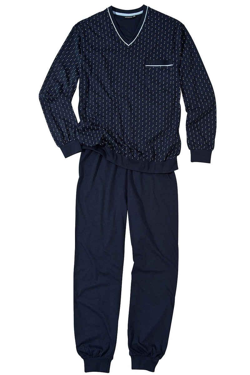 GÖTZBURG Pyjama »Orson« langer Schlafanzug mit Bündchen für Herren, aus reiner Baumwolle