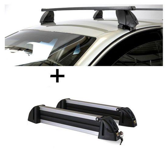 VDP Fahrradträger, Skiträger Alu 4 Paar Ski + Dachträger K1 MEDIUM kompatibel mit Mazda 2 (DJ) (5Türer) ab 14