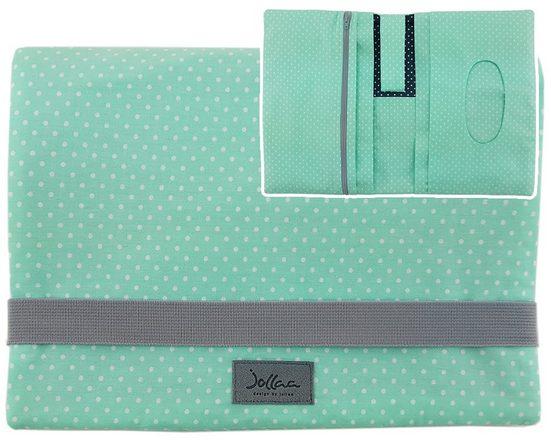 JOLLAA Windeltasche »Punkte Grau Mint«, Windeltasche für unterwegs, kleine Wickeltasche für Windeln & Feuchttücher, Windeletui, Wickelmäppchen MADE IN EUROPA
