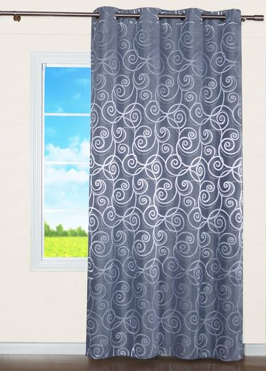 Vorhang »Ösenschal Seitenschal Ösenvorhang Yvonne Uni Jacquard 135x245 cm Grau Blickdicht Glänzend«, EXPERIENCE, Ösen (1 Stück), mit 8 Ösen