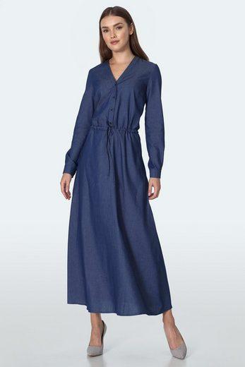 nife Jerseykleid mit schmalem Bindegürtel