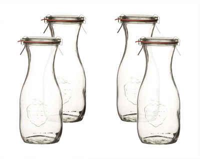 Weck Einmachglas »Saftflaschen 500 ml mit Deckel RR 60, Einkochringen & Einweck−Klammern − Weckflaschen aus Glas«, (4-tlg)