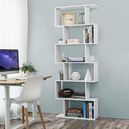 VASAGLE Bücherregal »LBC61BX LBC61WT LBC061M01 LBC41BX«, Standregal, Würfelregal, 6 Fächer, weiß