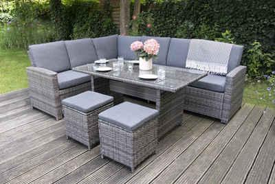 bellavista - Home&Garden® Loungeset »Aluminum Ecklounge Trentino - Linus grau von bella«, (Set, 21-tlg), Aluminium Lounge, rechts Sofa: 175x73,5x83cm, links Sofa: 192,5x73,5x833cm, Tisch: 140x75x68cm, Hocker: 38x38x40cm