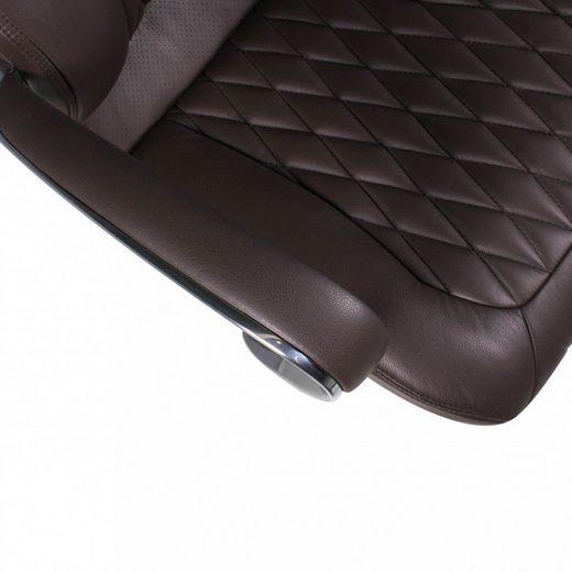 Amstyle Chefsessel »SPM1.297« Bürostuhl MONTEREY Echt-Leder Braun Schreibtischstuhl 120KG Chefsessel hohe Rückenlehne mit Kopfstütze X-XL