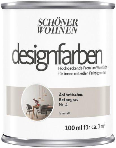 SCHÖNER WOHNEN-Kollektion Wand- und Deckenfarbe »Designfarben«, hochdeckend, Ästhetisches Betongrau, matt, 0,1 l