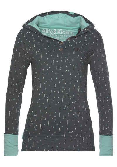 Alife & Kickin Longshirt »LenoraAK« sportives Longsleeve mit Kapuze, Print & Kontrastdetails