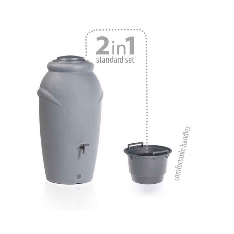 Prosperplast Regentonne »Regentonne Aquacan grau 210 Liter inkl. Wasserhahn«, 210 l