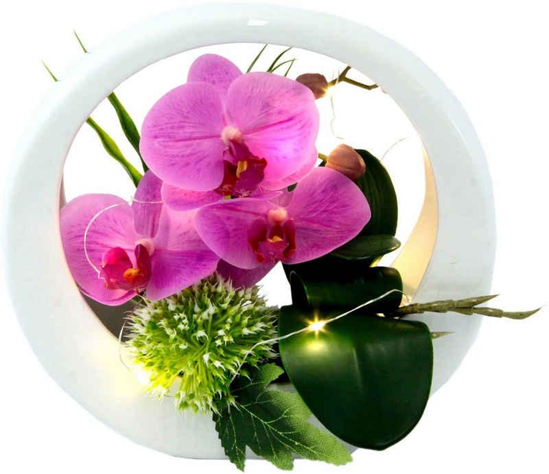 Kunstorchidee »Orchidee«, I.GE.A., Höhe 20 cm, im Keramiktopf, mit LED-Beleuchtung