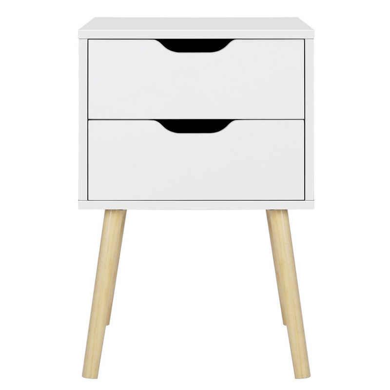 Yaheetech Beistelltisch, Nachttisch mit 2 Schubladen Nachtschrank Nachtkommode, 61cm hoch Sofatisch Telefontisch, Beine aus Kiefer
