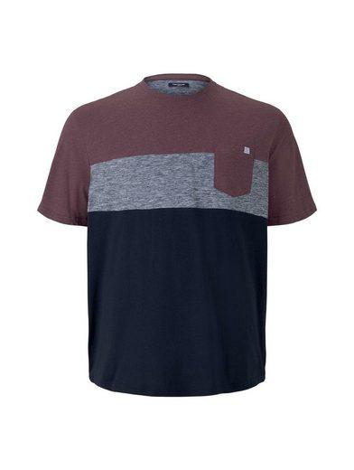 TOM TAILOR Men Plus T-Shirt »Blockstreifen T-Shirt mit Brusttasche«