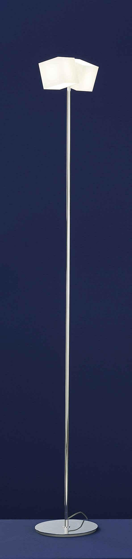 Qualitaetsware24 Stehlampe »Deutsche Halogen Stehleuchte Chrom Opalglas Fußdimmer 2xG9 Halogen je 60W/230V«