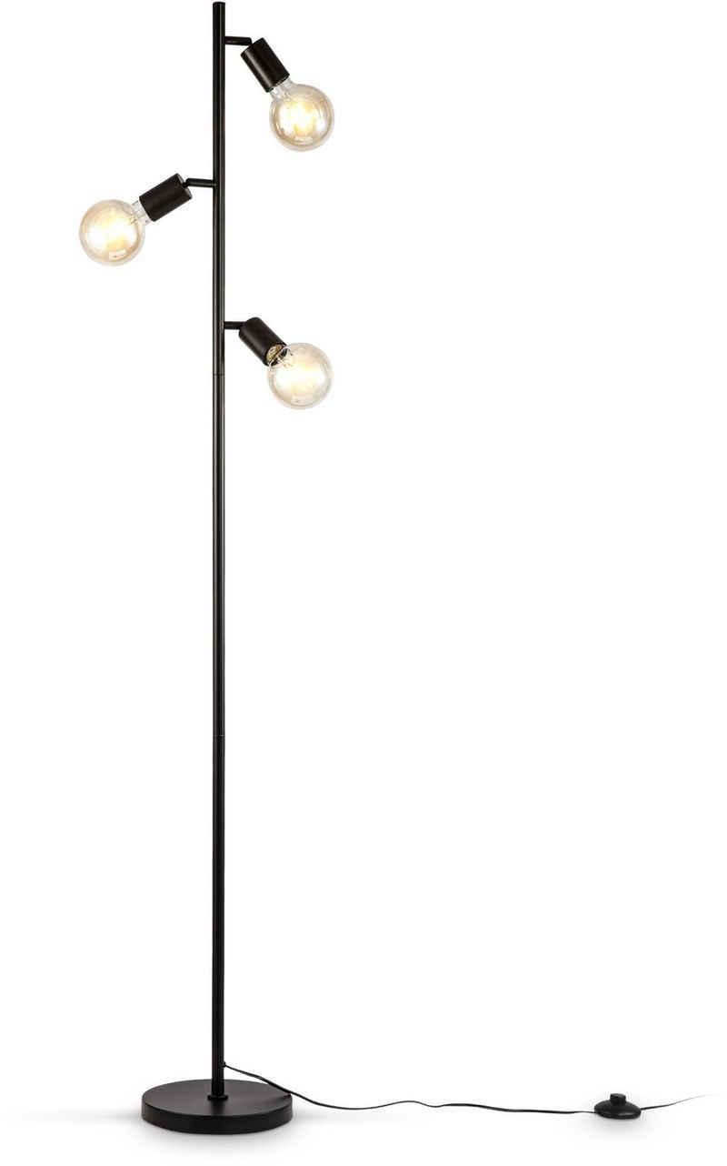 B.K.Licht Stehlampe, Stehleuchte 3-flammig, E27, Schwenkbar, Retro, Fußschalter, Metall, ohne Leuchtmittel