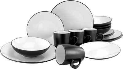 CreaTable Kombiservice »Cool Black« (16-tlg), Steinzeug, coole Optik in schwarz weiß