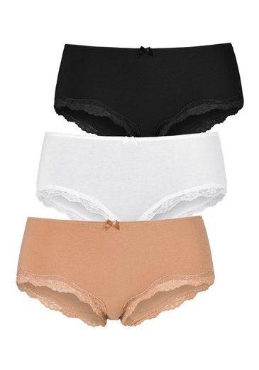 LASCANA Panty (3 Stück) mit zarter Spitze