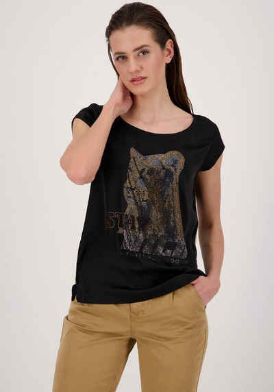 Monari Shirtbluse im Animal - Look mit Löwen-Motiv mit Glitzerdetails