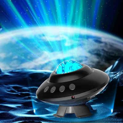 MUPOO LED Nachtlicht »LED-Sternenhimmel Projektor, Aurora Lichtprojektor Lampe mit Fernbedienung und Bluetooth Musikplayer, Galaxie Projektor Nachtlicht Partylicht Dekorationslicht für Baby Kinder Erwachsene«, Projektionsfläche: 20-80