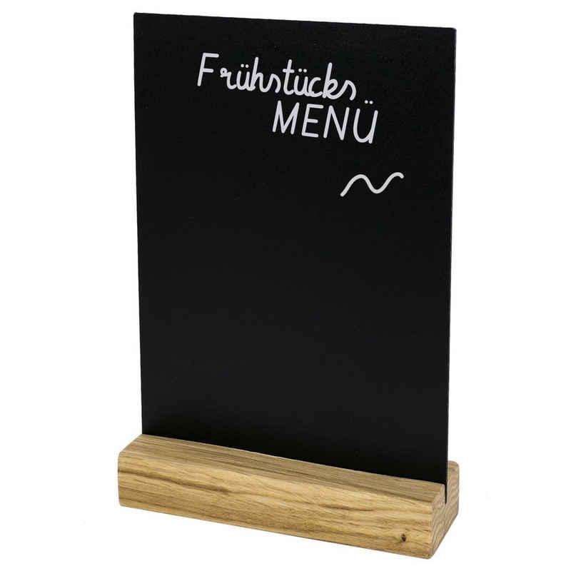 HMF Wandtafel »Tischaufsteller 464«, DIY Deko Kreidetafel für den Tisch, T-Ständer mit Holzfuß, DIN A6 Hochformat, Schwarz
