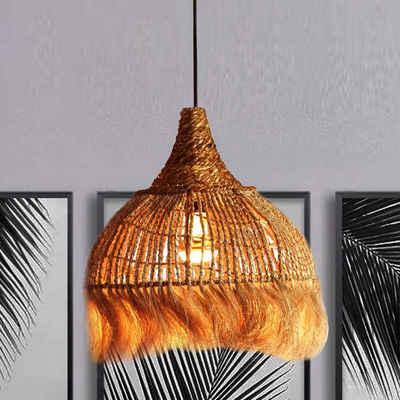 Casa Moro Pendelleuchte »Orientalische Hängeleuchte Bali aus Natufaser handgefertigt - mit E27 Fassung, Kabel & Baldachin, Handmade Naturlampe aus Abaca Bananenhanf, INDL2030«, Natürlich & Nachhaltig