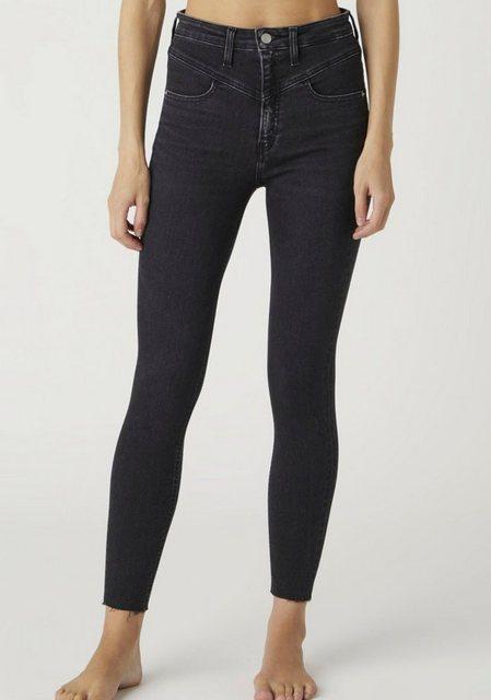 Hosen - Calvin Klein Jeans Skinny fit Jeans »High Rise Super Skinny Ankle« mit V Passe vorn Calvin Klein Jeans Logop Badge › schwarz  - Onlineshop OTTO