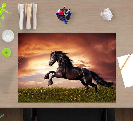 cover-your-desk.de Schreibtischaufsatz »Schreibtischunterlage für Kinder – Schwarzes Pferd – 60 x 40 cm – aus hochwertigem Vinyl«, (1-St)
