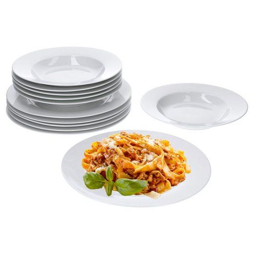 van Well Tafelservice »Tafelservice Trend 24tlg. für 12 Personen, 12 Speiseteller 27cm + 12 Suppenteller 23cm«
