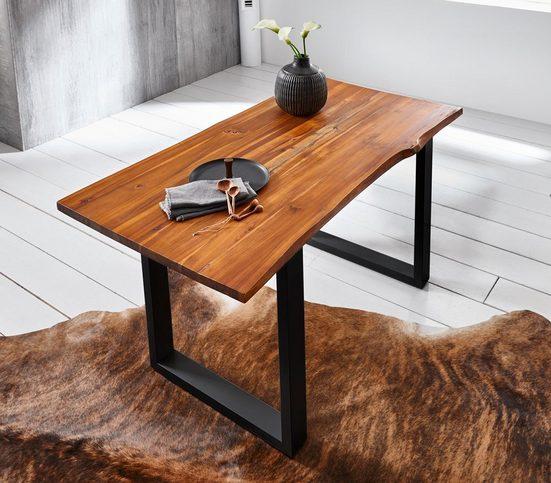 Junado® Baumkantentisch »Ida«, Akazie Massivholz cognacfarben 26mm natürliche Baumkante