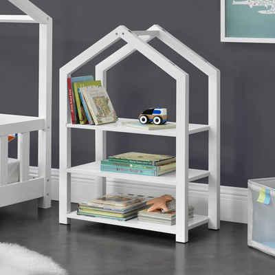 en.casa Bücherregal, »Mayen« Kinderregal Haus Optik Spielzeugregal mit 3 Ablagen in verschiedenen Farben