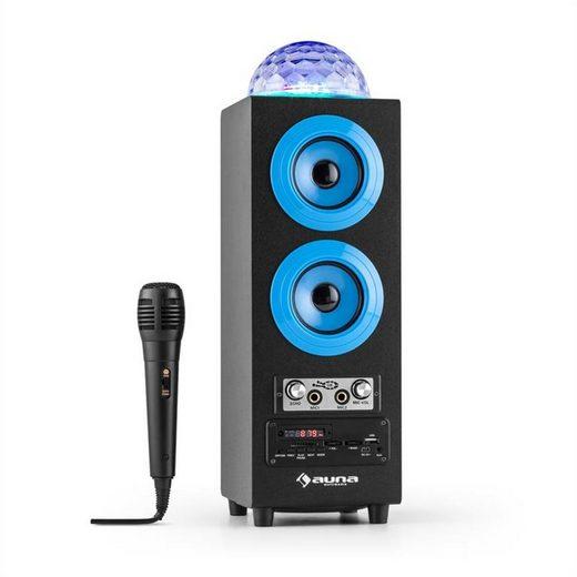 Auna DiscoStar Blue portabler 2.1-Bluetooth-Lautsprecher USB Akku LED Mikro Bluetooth-Speaker