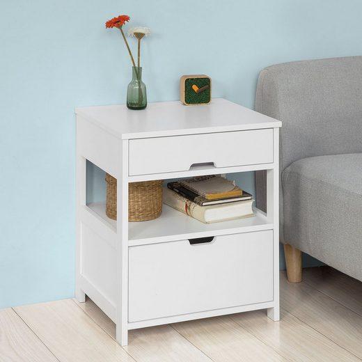 SoBuy Beistelltisch »FRG258«, Nachttisch Nachtschrank mit 2 Schubladen