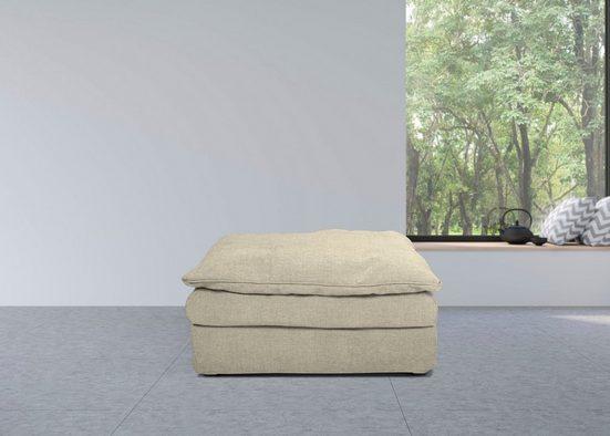 furninova Polsterhocker »Sake«, abnehmbarer und waschbarer Hussenbezug, Kissen mit Federn gefüllt, Memoryschaum, im skandinavischen Design