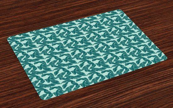 Tischdecke, »Waschbare Stoff Esszimmer Küche Tischdekorations Digitaldruck«, Abakuhaus, (4-teilig, 4 Teilig-St., Set aus 4x), hawaiisch Zusammenfassung Palmblätter