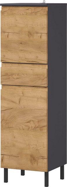 Badschränke - GERMANIA Midischrank »Scantic« Breite 34 cm, Badezimmerschrank, 2 Türen, 1 Schubkasten, Türdämpfer, grifflose Optik, MDF Fronten  - Onlineshop OTTO